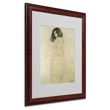 Gustav Klimt 'Portrait of a Young Woman 1896-97' Matted Fra - 16x20 Inches - Wood Frame
