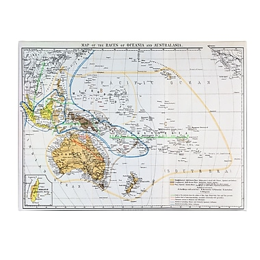Trademark Fine Art 'Map of the Races of Oceania and Australasia' Canvas Art 30x47 Inches