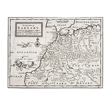 Trademark Fine Art Hermann Moll 'Map of Western Barbary 1720' Canvas Art 22x32 Inches