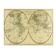 Trademark Fine Art Charles Bonne 'World Map in Two Hemispheres' Canvas Art 10x19 Inches