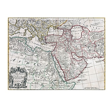 Trademark Fine Art Map of Turkey Arabia and Persia' Canvas Art 14x19 Inches