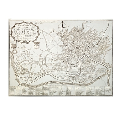 Trademark Fine Art Mathew 'City and Suburbs of Bristol, 1819' Canvas Art 18x24 Inches
