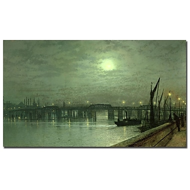 Trademark Fine Art John Grimshaw, 'Battersea Bridge by Moonlight' Canvas Art 14x24 Inches