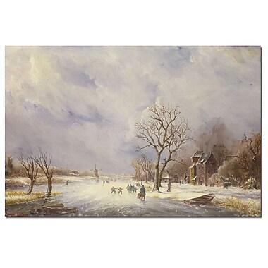 Trademark Fine Art Jan Lynn 'Winter Canal Scene' Canvas Art
