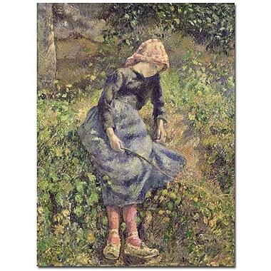 Trademark Fine Art Camille Pissarro 'Girl with a Stick 1881' Canvas Art Ready