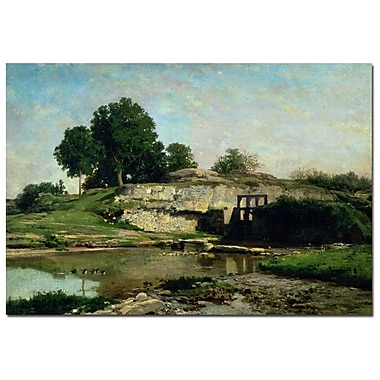 Trademark Fine Art Charles Daubigny 'The Lock at Optevoz 1859' Canvas