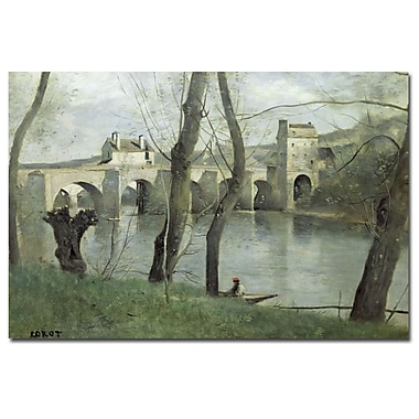 Trademark Fine Art Jean Baptiste Corot 'The Bridge Mantes' Canvas Art 22x32 Inches