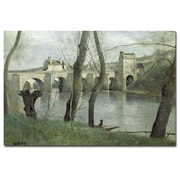 Trademark Fine Art Jean Baptiste Corot 'The Bridge Mantes' Canvas Art 16x24 Inches