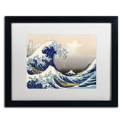 Trademark Fine Art Katsushika Hokusai 'The Great Kanagawa Wave' Matted A Black Frame 16x20 Inches