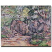 Trademark Fine Art Paul Cezanne 'Woodland with Boulders 1893' Canvas Art 26x32 Inches