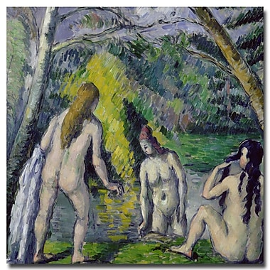 Trademark Fine Art Paul Cezanne, 'The Three Bathers, 1879' Canvas Art 24x24 Inches
