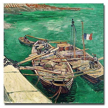 Trademark Fine Art Vincent van Gogh 'Landing Stage with Boats 1888' Canva 14x14 Inches
