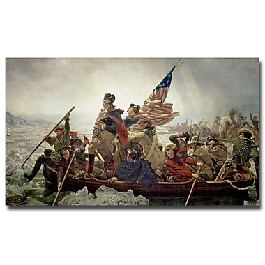 Trademark Fine Art Emanuel Leutze 'Washington Crossing Delaware River in 1776' 18x32 Inches
