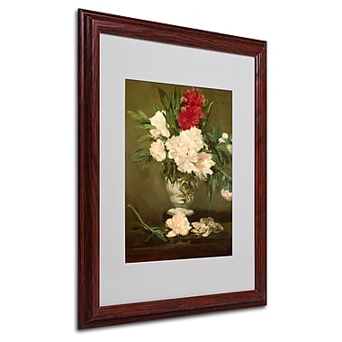 Edouard Manet 'Vase of Peonies 1864' Matted Framed Art - 16x20 Inches - Wood Frame