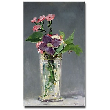 Trademark Fine Art Edouard Manet 'Pinks and Clemantis in a Vase, 1882' Canvas 18x32 Inches