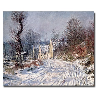 Trademark Fine Art Claude Monet 'The Road of Giverny, Winter, 1885' Canvas Art 14x24 Inches