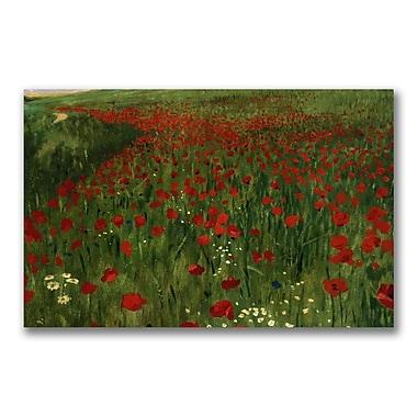 Trademark Fine Art Pal Szinyei Merse 'The Poppy Feild 1896' Canvas Art 14x24 Inches
