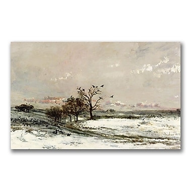 Trademark Fine Art Charles Daubigny 'The Snow 1873' Canvas Art 12x24 Inches