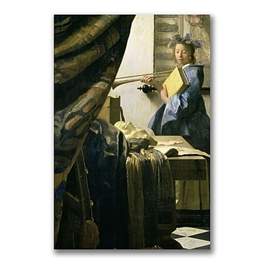 Trademark Fine Art Jan Vermeer 'The Artist's Studio' Canvas Art 10x32 Inches