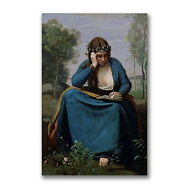Trademark Fine Art Jean Baptiste Corot 'The Reader Crowned with Flowers' Canvas 22x32 Inches