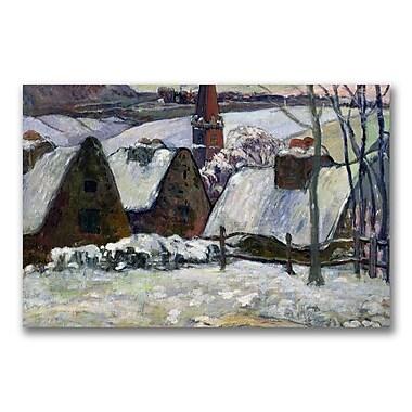 Trademark Fine Art Paul Gauguin 'Brenton village under snow' Canvas Art 22x32 Inches
