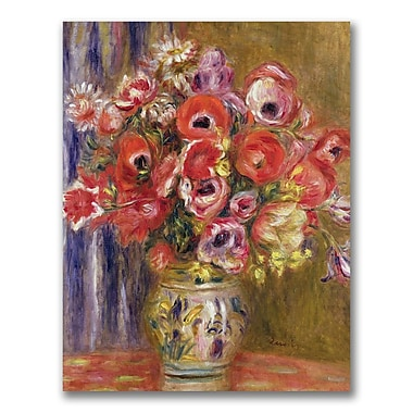 Trademark Fine Art Pierre Renoir 'Vase of Tulips and Anemones' Canvas Art 26x32 Inches