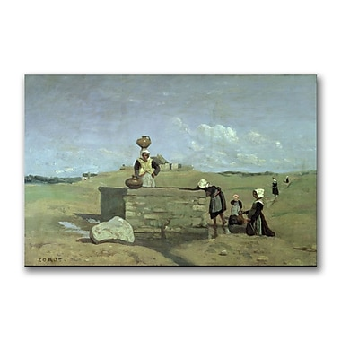 Trademark Fine Art Jean Baptiste Corot 'Brenton Woman at the Well' Canvas 22x32 Inches