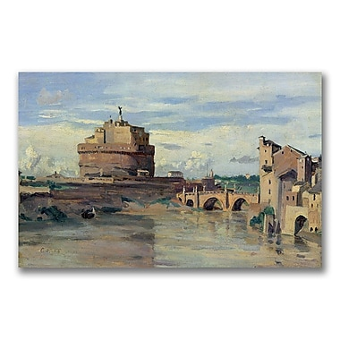 Trademark Fine Art Jean Baptiste Corot 'Castel Sant' Angelo' Canvas 14x24 Inches