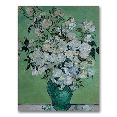 Trademark Fine Art Vincent Van Gogh 'Vase of Roses' Canvas Art 24x32 Inches