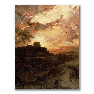 Trademark Fine Art Thomas Moran 'Sunset, Pueblo del Walpe, Arizona' Canvas Art