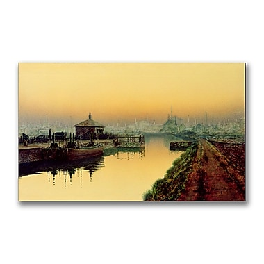 Trademark Fine Art John Grimshaw 'Knostrop Cut Leeds Sunday Night' Canvas Art 12x24 Inches