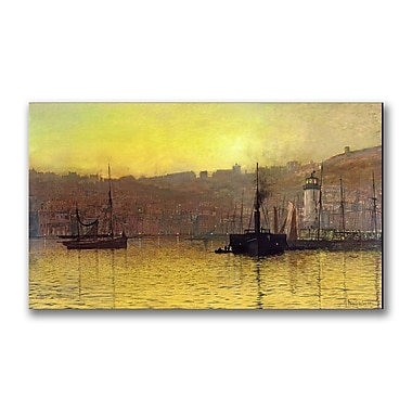 Trademark Fine Art John Grimshaw 'Nightfall in Scarborough Harbour' Canvas Art 18x32 Inches