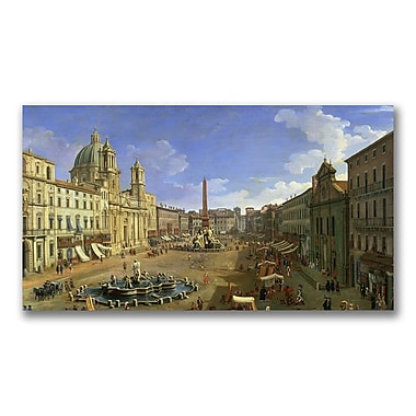Trademark Fine Art Canatello 'View of the Piazza Navona Rome' Canvas Art 18x32 Inches