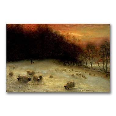 Trademark Fine Art Joseph Farquharson 'Sheep in a Winter Landscape' Canvas Art 30x47 Inches