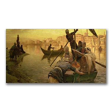 Trademark Fine Art Joseph Farquharson 'Ferry from the Island' Canvas Art 16x32 Inches