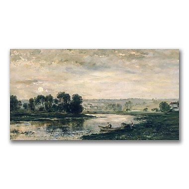 Trademark Fine Art Charles Daubigny 'Evening on the Oise' Canvas Art 12x24 Inches