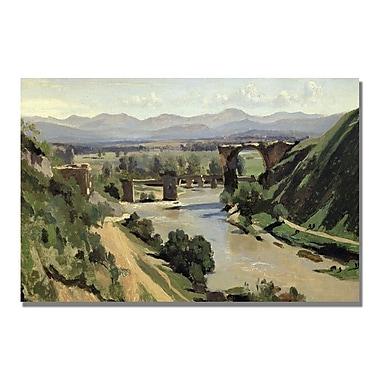 Trademark Fine Art Jean Baptiste Corot 'Nami, The Bridge of Augustus' Canvas