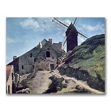 Trademark Fine Art Jean Baptiste Corot 'A Windmill at Montmartre' Canvas