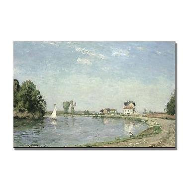 Trademark Fine Art Camille Pissaro 'At the River's Edge 1871' Canvas Art 22x32 Inches