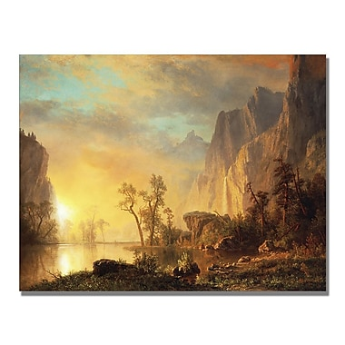 Trademark Fine Art Albert Biersdant 'Sunset in the Rockies' Canvas Art 18x24 Inches