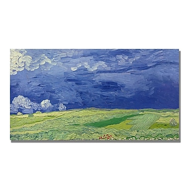 Trademark Fine Art Vincent Van Gogh 'Wheatfields under Thundercloud' Canvas Art 16x32 Inches
