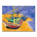 Trademark Fine Art Vincent Van Gogh 'Fishing Boats on the Beach' Canvas Art