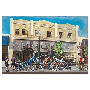 Trademark Fine Art Cyclists at Roasters by Colleen Proppe-Canvas Art