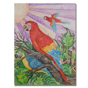 Trademark Fine Art Djibrirou Kane 'Parrots in Pointillism' Canvas Art