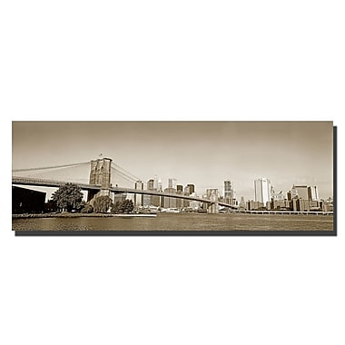 Trademark Fine Art Brooklyn Bridge by Preston-Ready to Hang Art 8x24 Inches