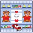 Trademark Fine Art Little Boys Love their Toys by Grace Riley-Canvas Art 18x18 Inches