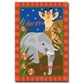 Trademark Fine Art Giraffe & Elephant by Grace Riley- 24x32 Inches