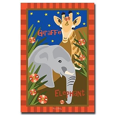 Trademark Fine Art Giraffe & Elephant by Grace Riley-1 18x24 Inches