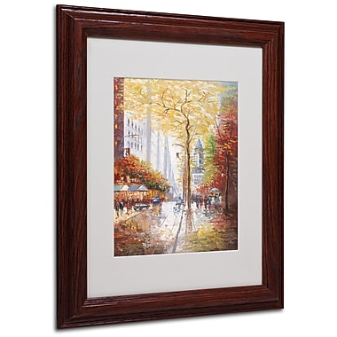 Joval 'French Street Scene II' Matted Framed Art - 16x20 Inches - Wood Frame