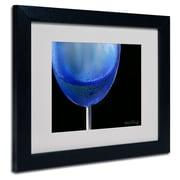 Trademark Fine Art Kathie McCurdy 'Blue Wine Glass' Matted Art Black Frame 16x20 Inches